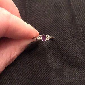 Purple gem 14k white gold ring